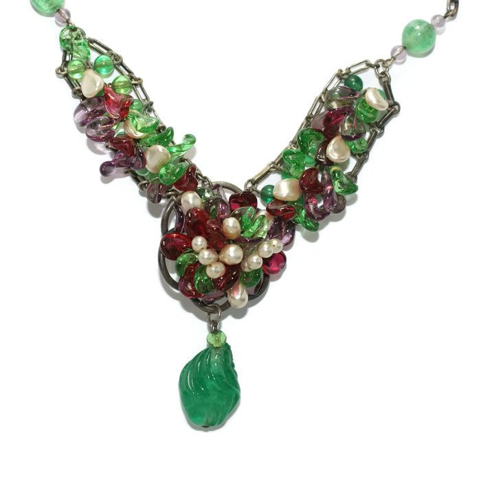 SOLD #1568 Rousselet Colourful Poured Glass Necklace 1950 Exclusively at Lee Caplan Vintage Collection on RubyLane