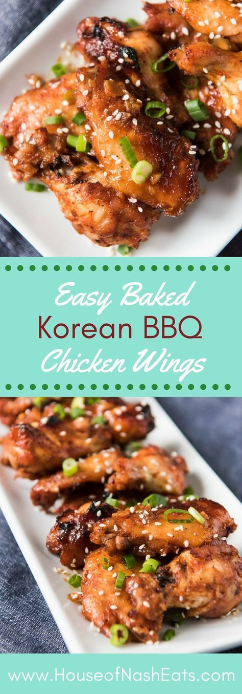 Oven Baked Korean BBQ Chicken Wings are sweet, savory & spicy, thanks to a Korean red chile pepper paste called gochujang that adds fantastic flavor to this Asian-inspired Korean barbecue sauce. #appetizer #Korean #chicken #wings #partyfood #gameday #bbq #baked