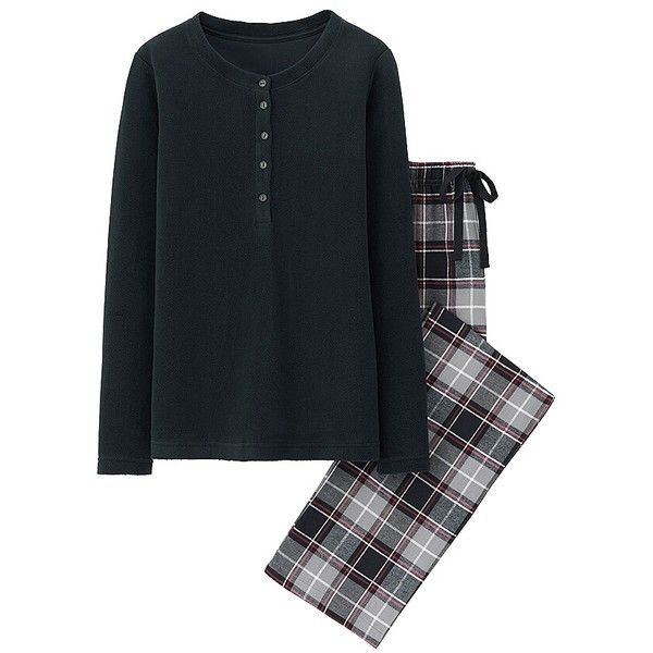 UNIQLO Fleece & Flannel Lounge Set (Long Sleeve) (255 MXN) ❤ liked on Polyvore featuring intimates, sleepwear, pajamas, flannel pjs, long sleeve sleepwear, uniqlo, flannel pajamas and fleece sleepwear