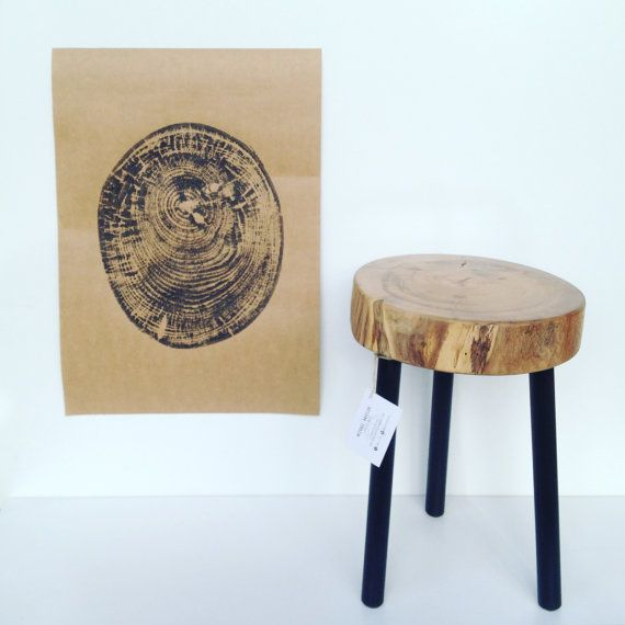 "Handcrafted stools made from camphor laurel including its very own ""fingerprint"" $195"