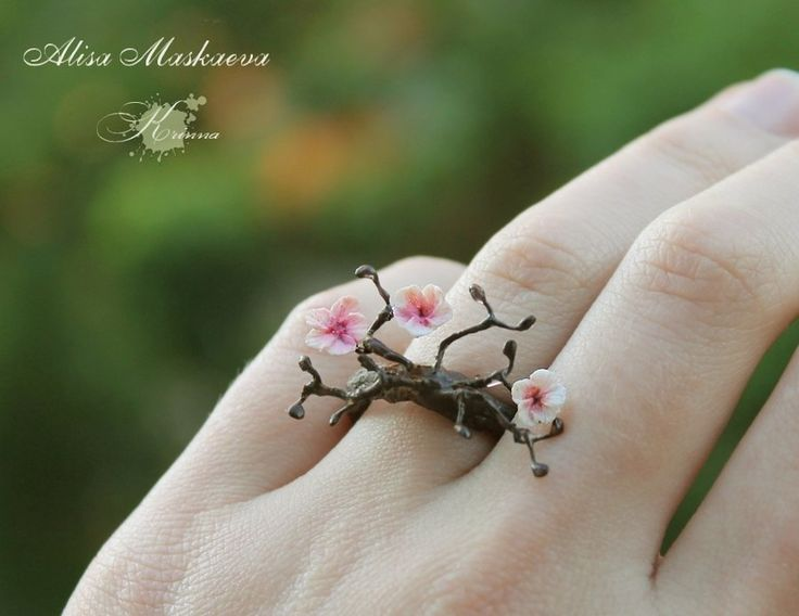 Sweet cherry blossom polymer clay ring. Sakura ring from polymer clay by Krinna on DeviantArt