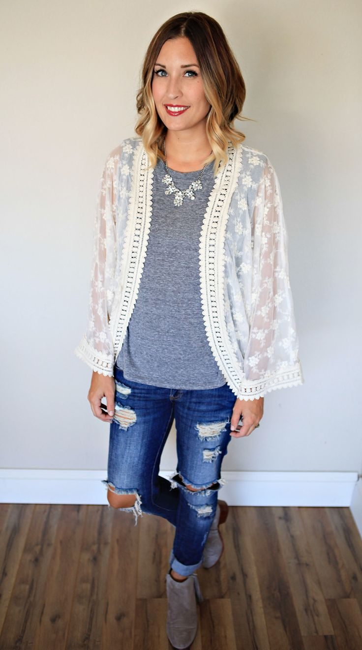 Fall Outfit:  Ivory lace kimono paired with a grey tee, distressed denim, and booties.