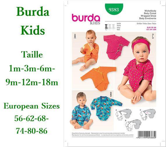 Burda, 9383, Wickelbody, 1m to 18m, pattern, new, uncut, never used
