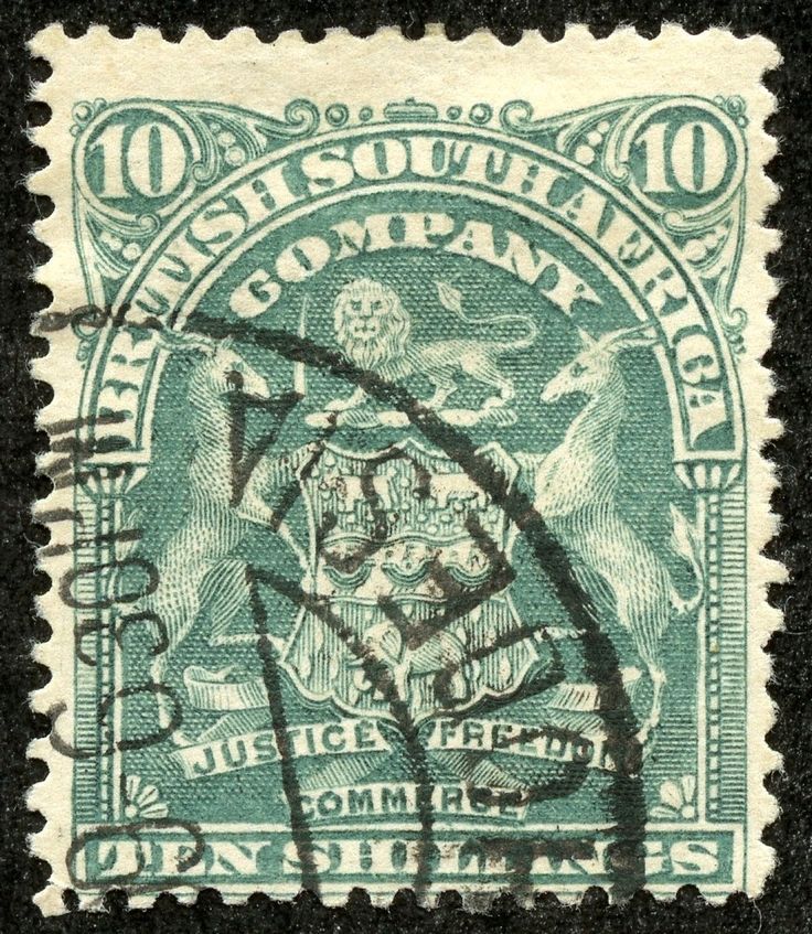 """1908 Scott 71 10sh bluish green The 1898-1908 engraved issue, again with the Coat of Arms design, has 19 major descriptive numbers. CV ranges from <$1- $3+ for 11 stamps. This would prove to be the last issue with no """"Rhodesia"""" overprint or inscription."""