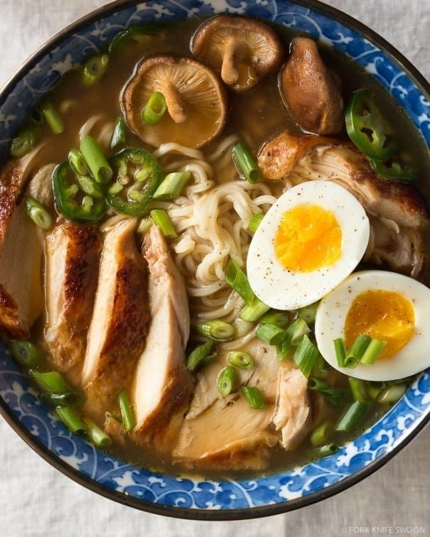 What is it? Wheat noodles served in a savory broth with pork, scallions, and other toppings. There are hundreds of variations on Japan's most popular culinary export, but tonkotsu (pork bone broth) ramen is probably the most popular. Recipe here.