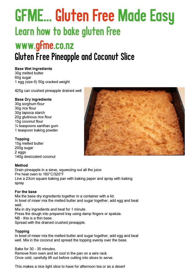 Gluten Free Pineapple and Coconut Slice. www.gfme.co.nz