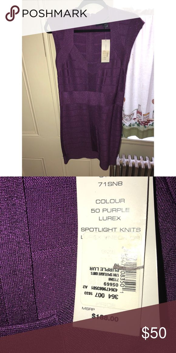 Shimmery purple bandage dress Brand new French connection bandage dress size US 10 French Connection Dresses Mini