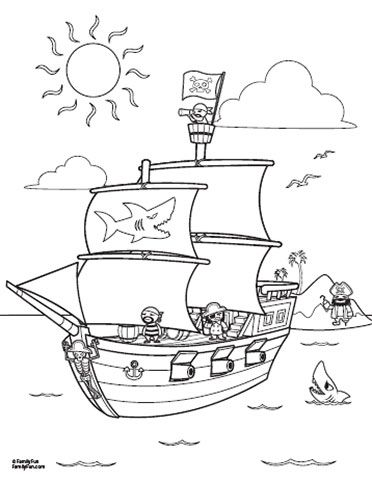Fun printables pirate ship coloring page spoonful for Pirate coloring pages for preschool