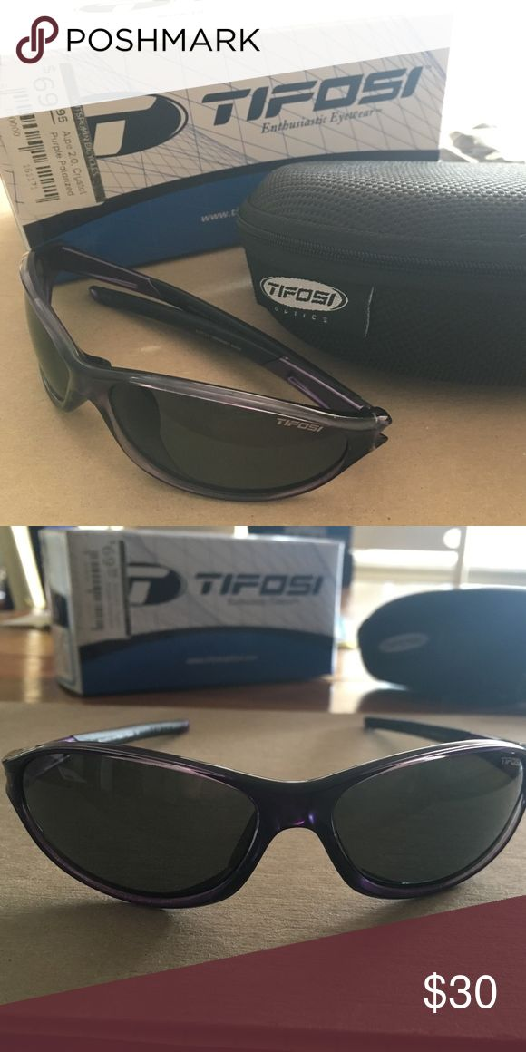 Tifosi Sunglasses Great for outdoor sports Polarized  Model 2.0 Crystal Purple Style #1080504651 Adjustable Ear Piece Tifosi Optics Accessories Glasses