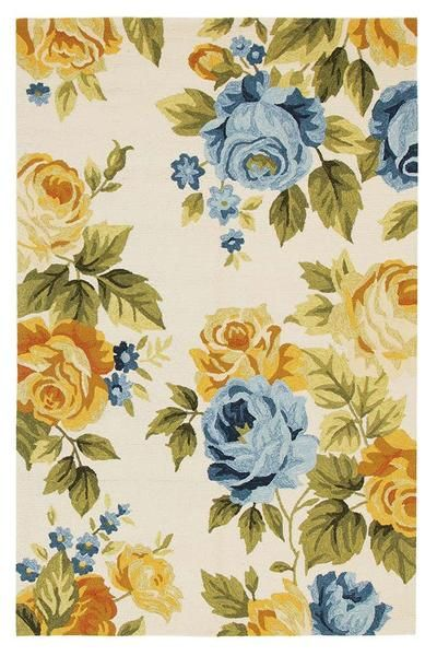 We love the tones and floral motifs in this rug, new to our range: Florence 1533 White Multi Coloured Floral Patterned Outdoor Modern Rug