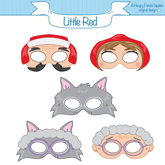 Little Red Riding Hood Printable Masks red por HappilyAfterDesigns