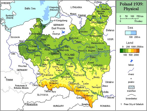 A physical map of Poland in 1939