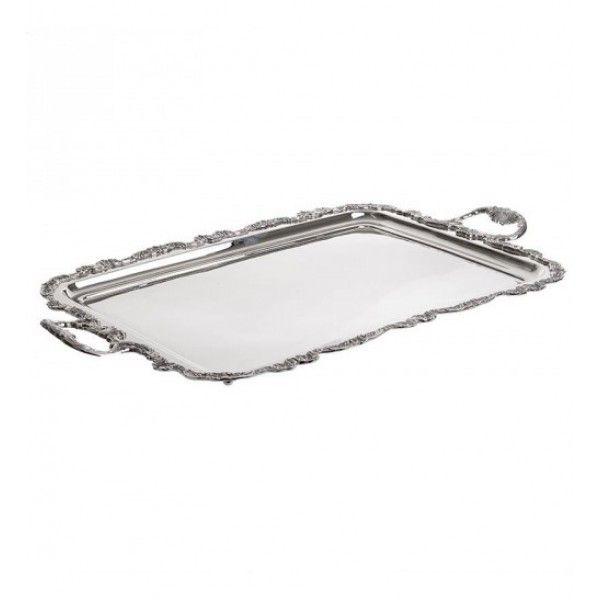 Δίσκος μεταλλικός σε ασημί απόχρωση με σκαλιστό περίγραμμα και λαβές 61x38x4 εκ.