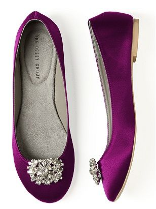 Dancing shoes! These would be so cute to change into at the reception...Comfy yet pretty flats for your bridesmaids. #PurpleWedding