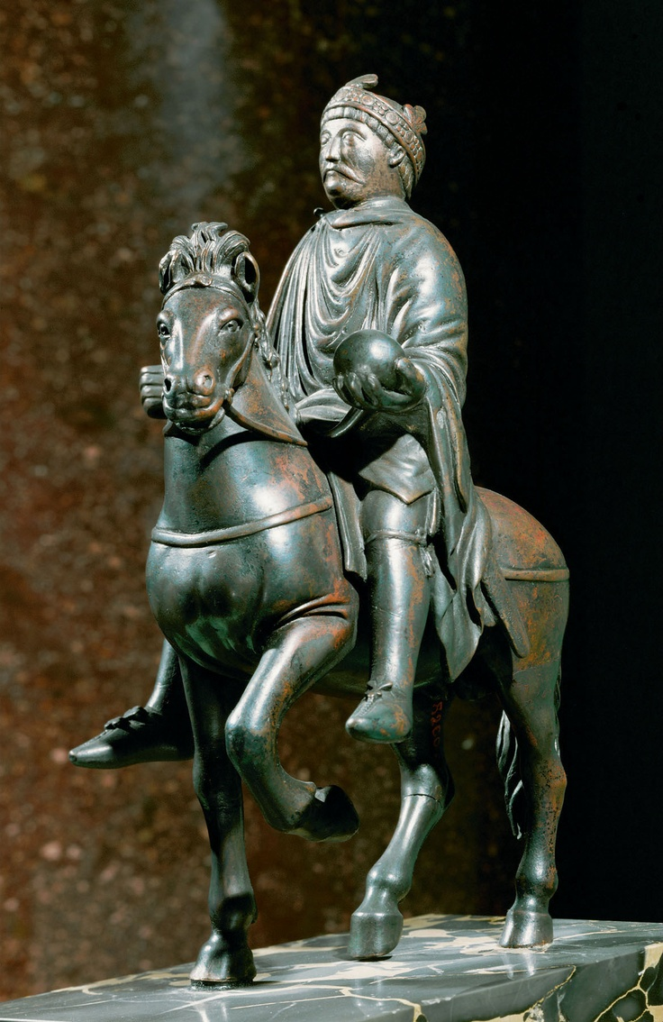 "Equestrian Portrait of Charles the Bald (?). 9th century. Bronze, height 9-1/2."" Musée du Louvre, Paris. (37ggf/multiples)"