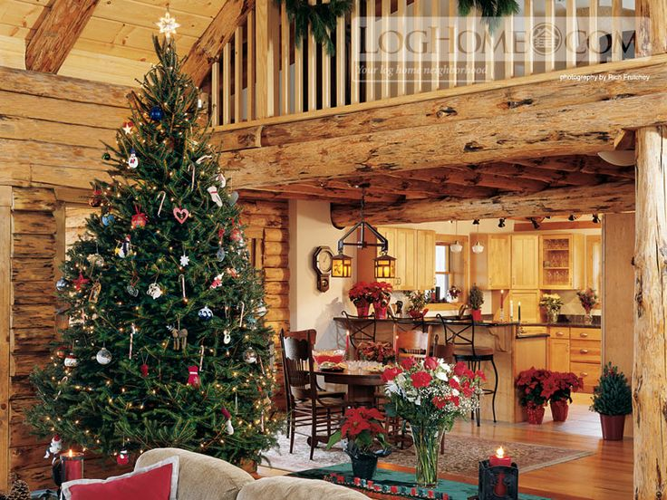 Beautiful country christmas mountain get a way log home for Country cabin christmas