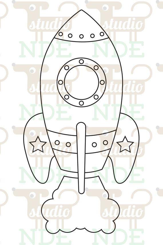 Digital Stamp Space Rocket Spaceship Printable Line by StudioNDE,