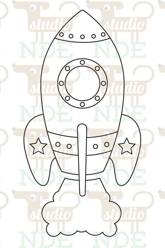 Digital stamp space rocket spaceship printable line art for card craft supply digital for Rocket template printable