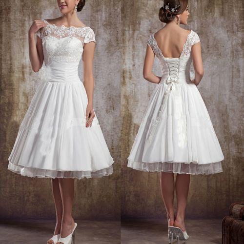 Lovely Tea Length Short Wedding Dress Gown Size Custom | eBay