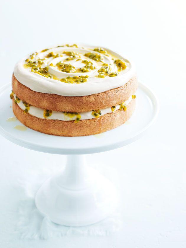 vanilla sponge cake with cream and passionfruit