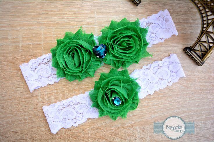 Flower Wedding Garter Set of White Lace & Crystal Teal Rhinestone - by BespokeGarters by BespokeGarters on Etsy