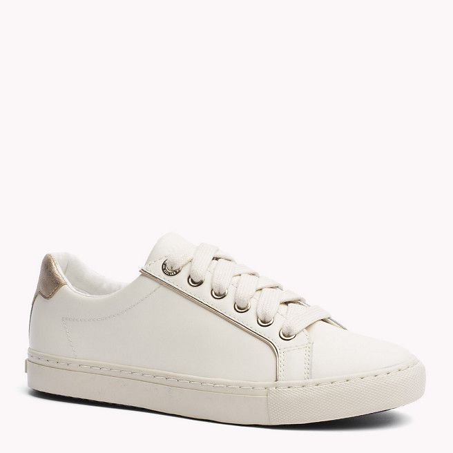 Tommy Hilfiger Leather Sneaker - snow white/gold (White) - Tommy Hilfiger Sneakers - main image