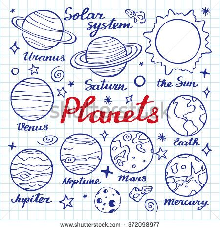 Planets set. Hand-drawn cartoon collection of solar system planets - the Sun, Venus, Mars, Mercury, Jupiter, Saturn, Neptune, Uranus, Earth. Doodle pen drawing on the notebook page.Vector illustration