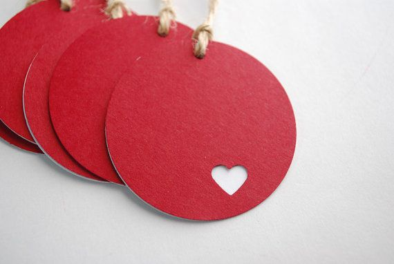 Inspiration: gift tags - circle punch, heart punch and different colour background paper.