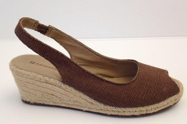 Naturalizer Brown Fabric Open Toe Wedge Espadrille Platform Pumps 8.5 W USA  | eBay
