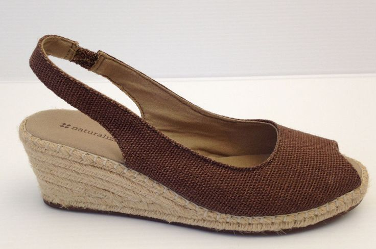 Naturalizer Brown Fabric Open Toe Wedge Espadrille Platform Pumps 8.5 W USA  | eBay