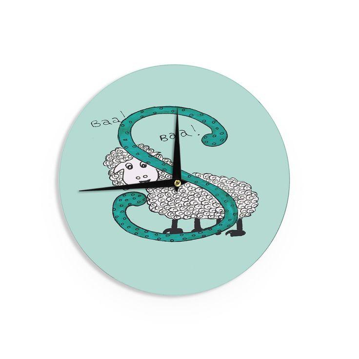 "Rosie Brown ""Sis for Sheep Blue"" Teal Wall Clock"