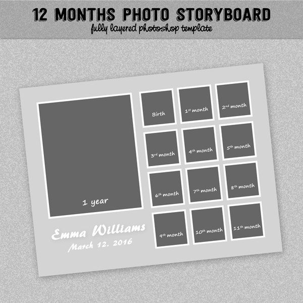 12 Months Timeline Photoboard Template Baby First Year Instant Download Photo Collage Photoshop Templates 8 5x11 In 2021 Templates Babies First Year Photoshop Template
