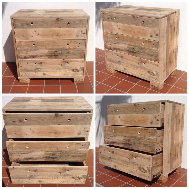 Simpel Design Pallet Drawer. 100% made from pallets. Seven to nine Euro pallets are used for this dresser. Each drawer is made from one pallet.