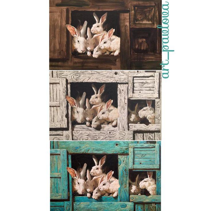 """Живописный процесс или как картина сильно меняется. """"Белые кролики"""", холст, масло. 70-110 см."""
