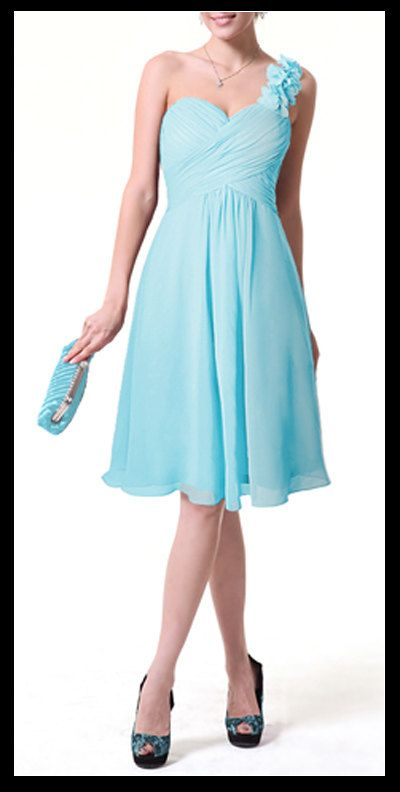 baby blue bridesmaid dress chiffon dress with one shoulder strap evening party dress. $70.00, via Etsy.