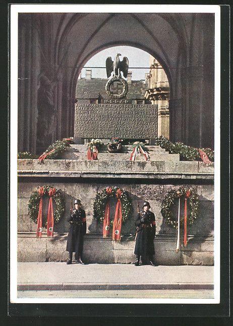 AK München, SS-Wache vor dem Mahnmal an der Feldherrnhalle, Reichsadler mit Hakenkreuz 1935