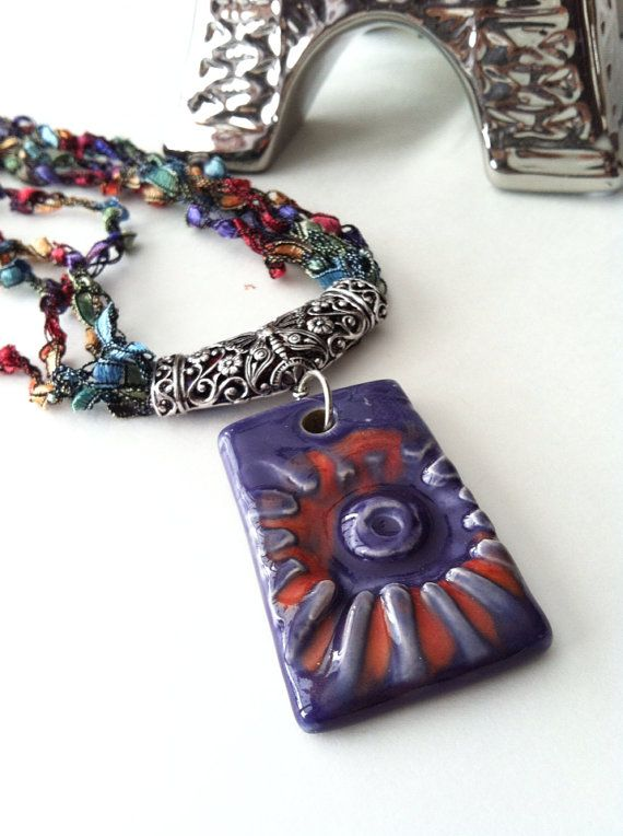 Ceramic pendant necklace on Etsy, $22.00 CAD