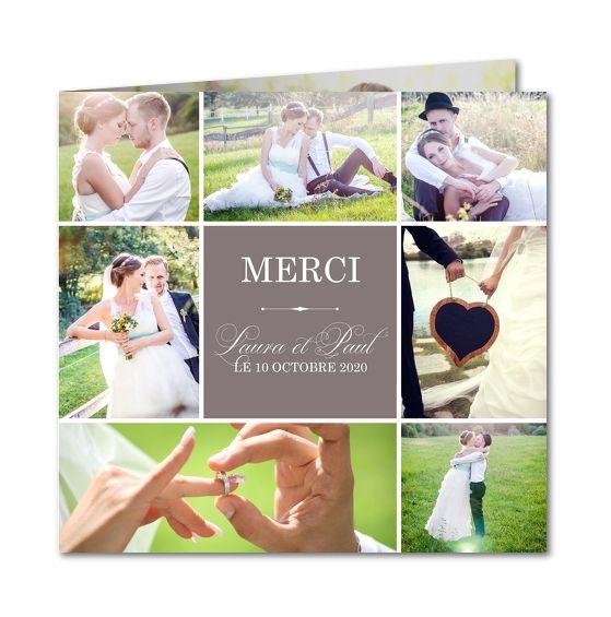 carte de remerciement mariage amour champtre r 4300 - Montage Photo Remerciement Mariage