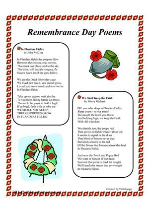 This is a reading comprehension activity of two well-known Remembrance Day Poems. - ESL worksheets