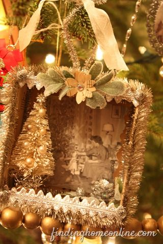 Love this shadowbox ornament... could make with a jewelry box?...Vintage photo. Sweetness.