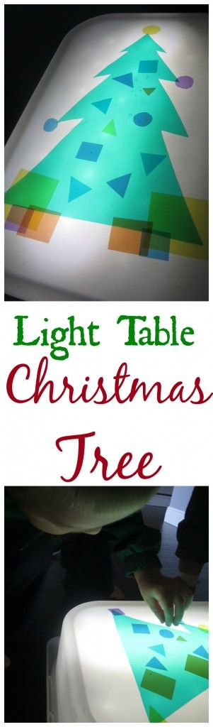 Christmas Tree Light Table Learn shapes, colors, shading, size differences in a fun and festive way. Great as toddler and preschooler learning activity.