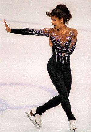Debi Thomas (USA) competing at the 1988 Olympics in Calgary, Canada.
