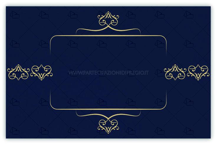 Partecipazioni matrimonio - dimensione: 17 x 11 - forma: rettangolare - carta: Gmund Cotton - Power Blue - 300, 600, 900 gr. - linea: Fregi simmetrici con cornice Alessandra interna - modello: Versione 1 - lavorazione press: cornici e fregi