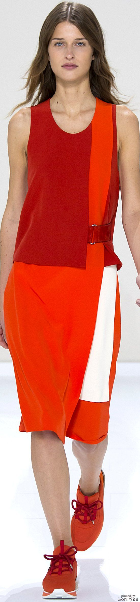 Hermès Spring 2016 RTW red orange dress women fashion outfit clothing style apparel @roressclothes closet ideas