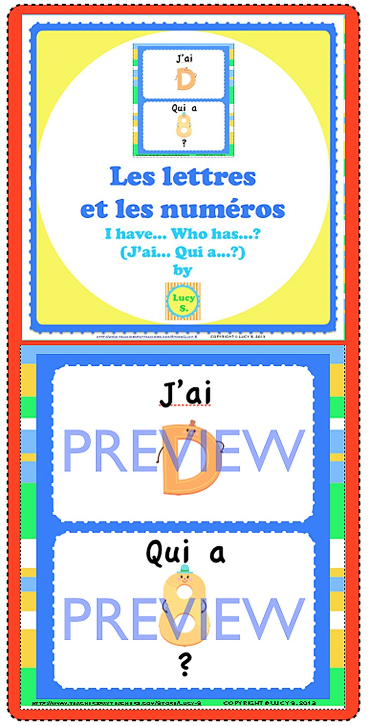$ I have... Who has...? in FRENCH  Numbers & Letters