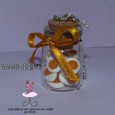 Sautoir grande fiole bonbons oeufs, bijou gourmand  fimo. Polymer clay. http://des-bijoux-en-veux-tu.alittlemarket.com www.facebook.com/Desbijouxenveuxtuenvoila