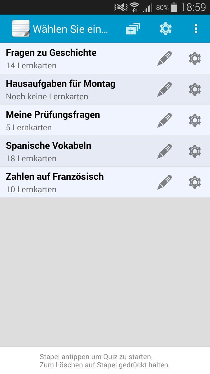 Lernkartenstapel-Auswahl in der Lernkarten App, deinem #Vokabeltrainer und #Lernprogramm für #Android