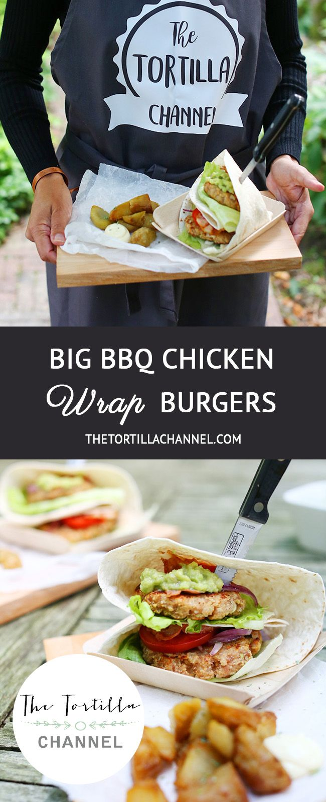 Lets go outside! The sun is shining, birds are singing and its time for a BBQ. To honour Summer we're making Big BBQ Chicken Wrap burgers. #summer #bbq #thetortilachannel #tortilla #burger #grill