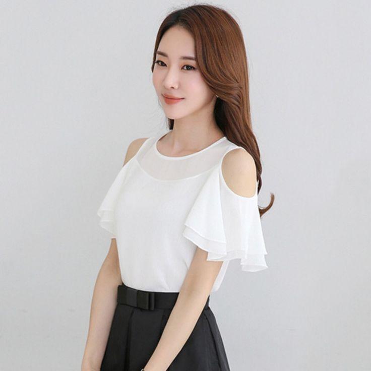US $5.93 2017 Fashion Chiffon Shirts Ladies Causal Off Shoulder Shirts Tops White Female Tops Women #2017 #Fashion #Chiffon #Shirts #Ladies #Causal #Shoulder #Tops #White #Female #Women