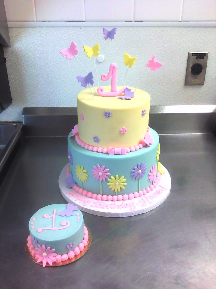 1st Birthday Cake with Butterflies & Flowers